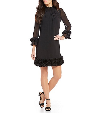 Alex Marie Amelia Mock Smocked Neck Floral Petal Detail Illusion 3/4 Sleeve Chiffon Dress