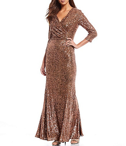 Alex Marie Annabell V-Neck Stretch Allover Sequin Gown