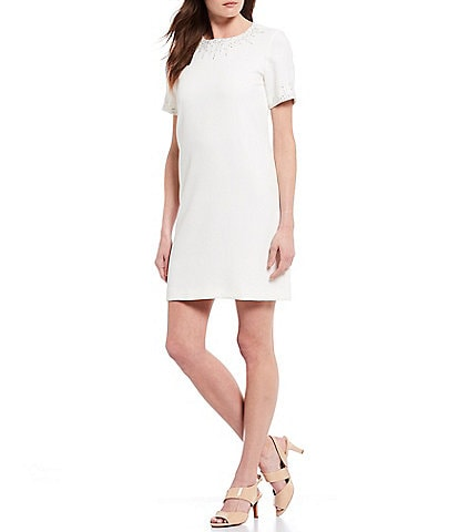 Alex Marie Annie Beaded Crepe Short Sleeve Shift Dress