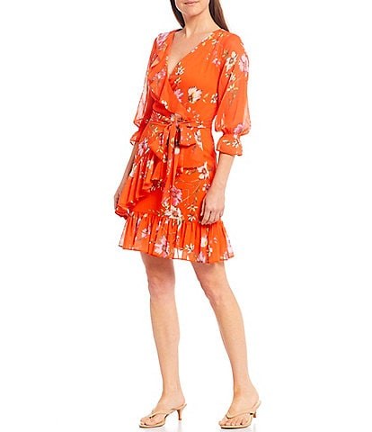 Alex Marie Anya Floral Ruffle V-Neck Wrap Dress