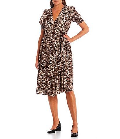 Alex Marie Ashlyn Cheetah Short Sleeve V-Neck Wrap Dress