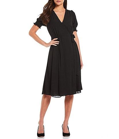 Alex Marie Ashlyn Midi V-Neck Short Sleeve Wrap Dress