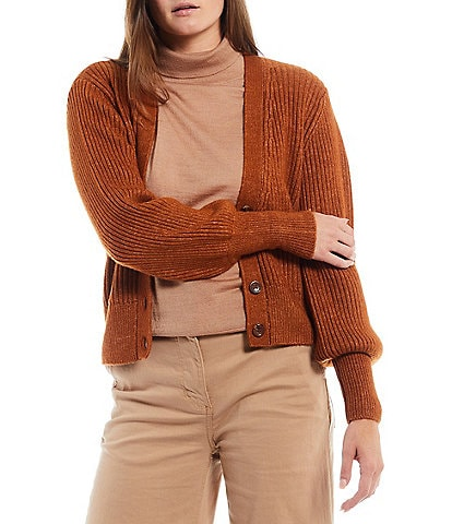 Alex Marie Balloon Sleeve V-Neck Button Front Mary Cardigan
