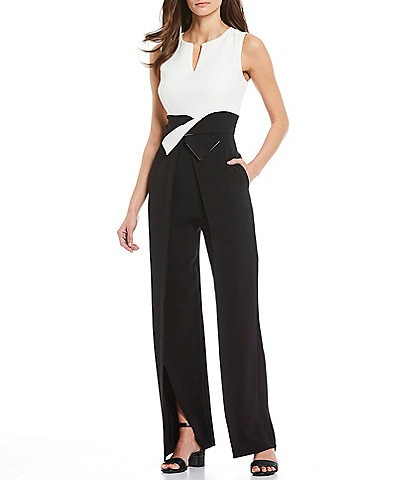 Alex Marie Barbara Contrast Colorblock Sleeveless Split Leg Jumpsuit