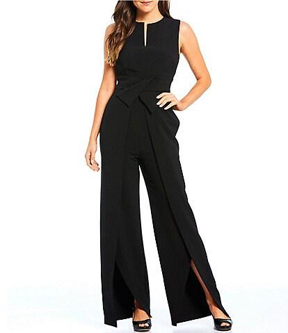 Alex Marie Barbara V-Neck Crossover Waist Slit Front Leg Jumpsuit