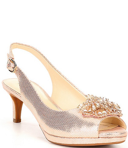 Alex Marie Belora Foil Leather Peep-Toe Beaded Sling-Back Pumps