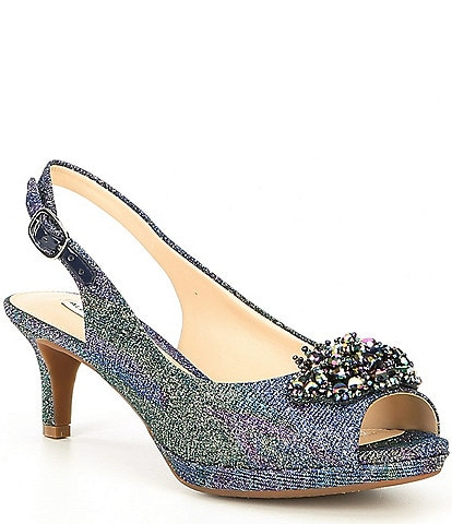 Alex Marie Belora Peep-Toe Jewel Embellished Sling-Back Pumps