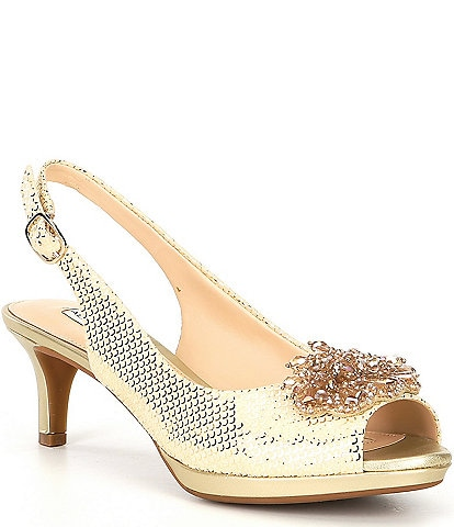 Alex Marie Belora Suede Peep-Toe Beaded Ornament Sling-Back Pumps