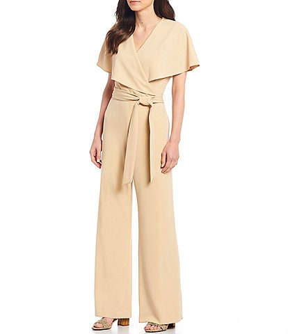 Alex Marie Beth Wrap Cape Sleeve Jumpsuit