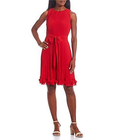 Alex Marie Petite Size Bethany Chiffon Round Neck Sleeveless A-Line Floral Embellished Pleated Self-Tie Dress