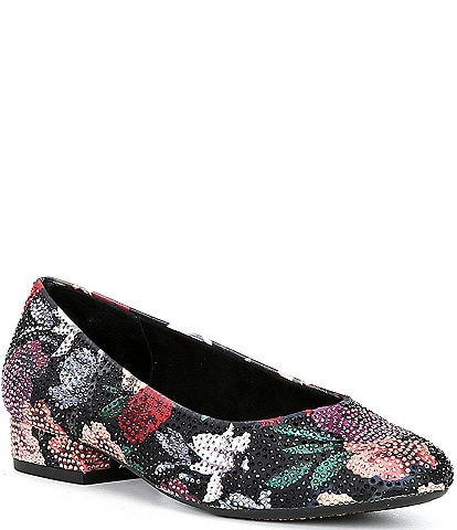 Alex Marie BevierTwo Floral Print Rhinestone-Embellished Pumps