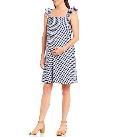 Alex Marie Blair Maternity Square Neck Sleeveless Gingham Dress