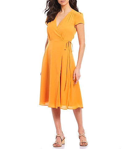 Alex Marie Brie V-Neck Soft Crepe Wrap Machine Washable Dress