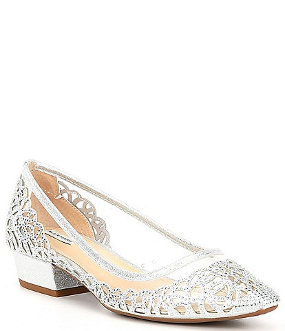 Alex Marie Calaisa Rhinestone Clear Block Heel Pumps