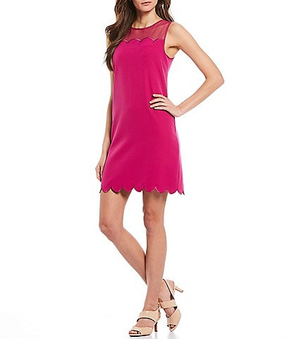 Alex Marie Carson Scalloped Hem Sleeveless Crepe Shift Dress