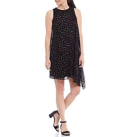 Alex Marie Cassidy Mini Rainbow Dot Novelty Chiffon Asymmetric Hem Dress