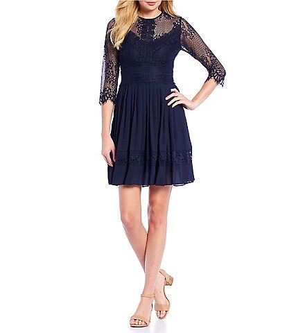 Alex Marie Cassie Embroidered Lace Pleated A-Line Dress