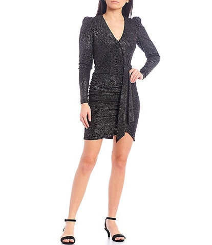 Alex Marie Chrissy Ruffle Front Foiled Knit Dress