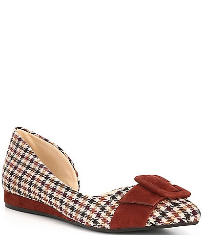 Alex Marie Clarabel Houndstooth d'Orsay Buckle Flats