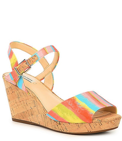 Alex Marie Claramir Rainbow Striped Cork Wedges