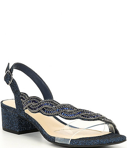 Alex Marie Clavia Asymmetrical Clear Jeweled Sling Back Sandals