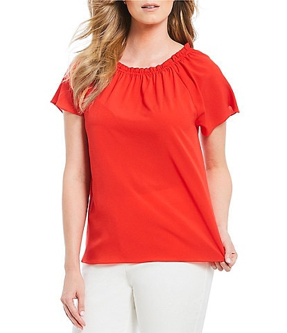 Alex Marie Colby Woven Solid Blouse