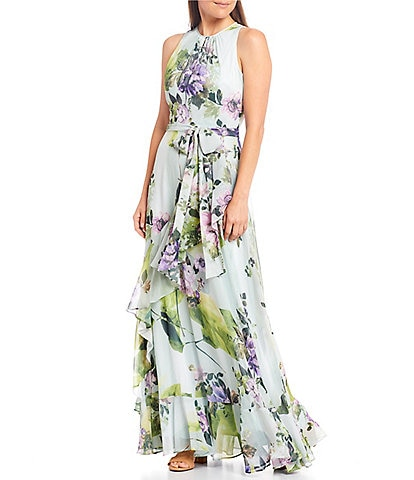 Alex Marie Colette Sleeveless Round Neck Floral Ruffle Dress