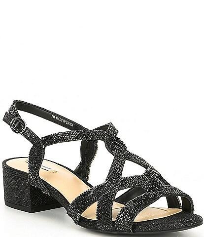 3a1ce99d5c4 Alex Marie Crennan Rhinestone Block Heel Dress Sandals