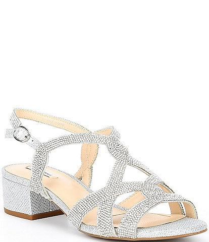 18f2d1da25a Alex Marie Crennan Rhinestone Block Heel Dress Sandals