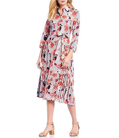 Alex Marie Daisy Floral Print Pleated Soft Crepe de Chine Midi Shirt Dress