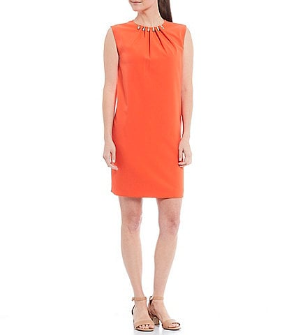 Alex Marie Dalia Ruched Studded Hardware Neck Detail Stretch Crew Neck Dress