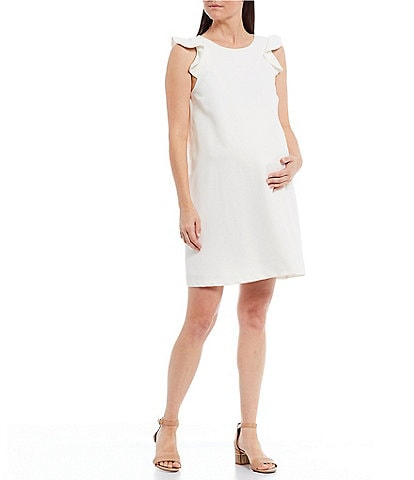 Alex Marie Maternity Delilah Ruffle Detail Sleeveless Shift Twill Dress