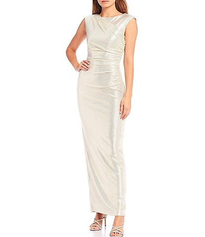 Alex Marie Emery Cap Sleeve Ruched Waist Long Gown