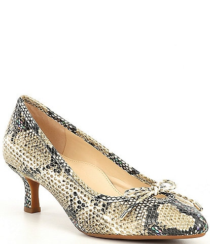 Alex Marie Fayleigh Snake Keyhole Bow Leather Pumps