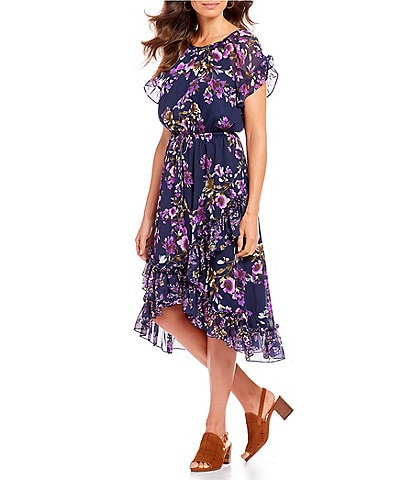 Alex Marie Sherilyn Floral Print Blouson Hi-Low Midi Dress