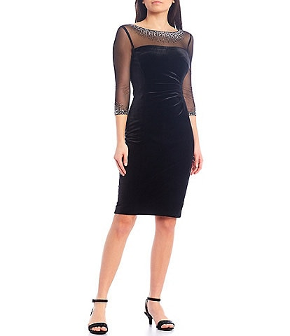 Alex Marie Foxy Embroidered Illusion Neck Velvet Sheath Dress