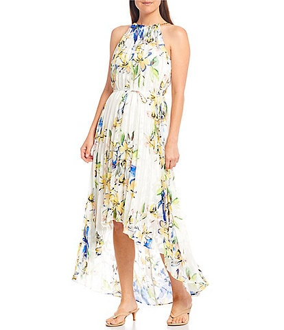 Alex Marie Gaya Pleated Halter Chain Neck Floral Hi-Low Midi Dress