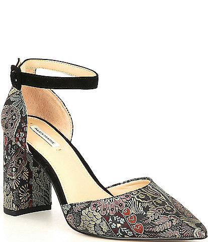 Alex Marie Genevie Brocade 2 Piece Block Heel Pumps