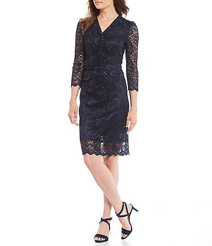 Alex Marie Grace Lace Sequin V-Neck Sheath Dress