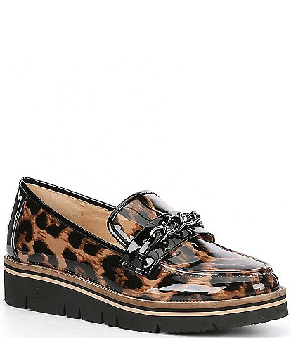 Alex Marie Grensley Leopard Print Patent Chain Detail EVA Loafers