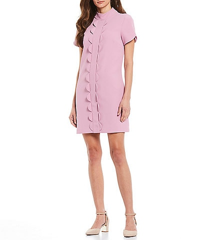 Alex Marie Gwen Mock Neck Scalloped Shift Dress