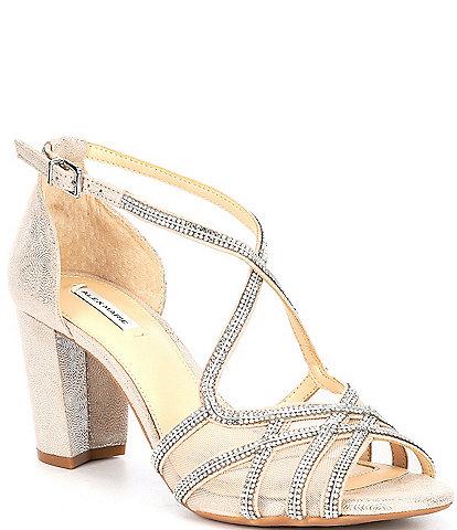 Alex Marie Hashleigh Metallic Mesh Jeweled Dress Sandals