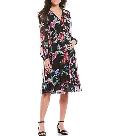 Alex Marie Heidi V-Neck Long Sleeve Maternity Dress