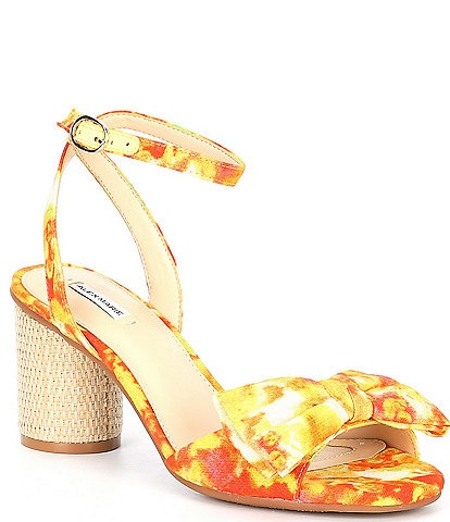 Alex Marie Hobson Floral Print Bow Ankle Strap Sandals