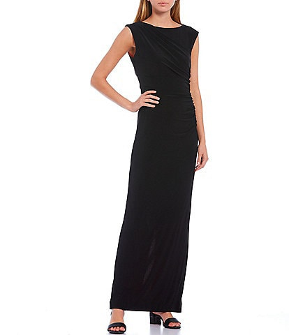 Alex Marie Jade Cap Sleeve Ruched Waist Long Gown