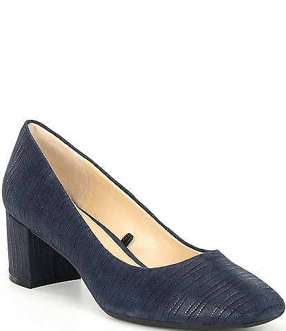 Alex Marie Jennica Embossed Square Toe Block Heel Pumps
