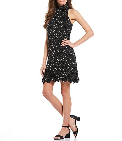 Alex Marie Judy Polka Dot Smocked Halter Shift Dress