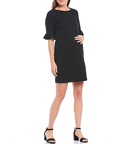 Alex Marie Kacey Ruffle Elbow Sleeve Maternity Dress in Black