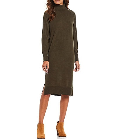 Alex Marie Karina Washable Merino Wool Turtleneck Long Sleeve Sweater Dress