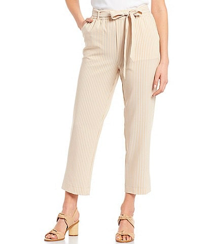 Alex Marie Kimbra Stripe Print Tie Front Seersucker Machine Washable Pant